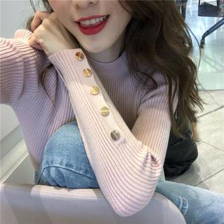 リブニット🌸ゴールドボタン Pink