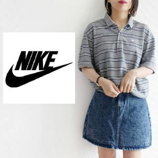 ナイキ(NIKE)のNIKE ゆるだぼ ボーダー ポロシャツ ワンポイント ロゴ刺繍(ポロシャツ)