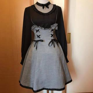 アマベル(Amavel)の猫ジャンスカ(ブラック)(ひざ丈スカート)