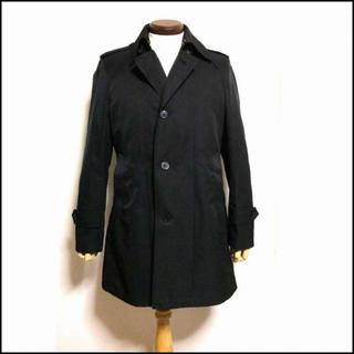 メンズ ストライプ コート ステンカラーコート M 黒 Y743(ステンカラーコート)