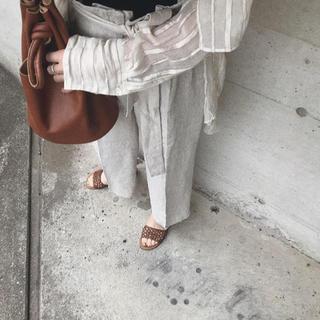 ザラ(ZARA)のZARA zara ザラ ウエストリボン付き リネン ワイドパンツ 美品(カジュアルパンツ)