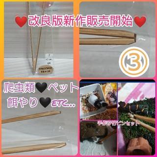 爬虫類ペット餌やり手作り竹ピンセット③(爬虫類/両生類用品)