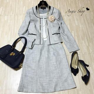 【美品】ESPRITMUR♡ツイードノーカラージャケット+スカートスーツ 入学式(スーツ)