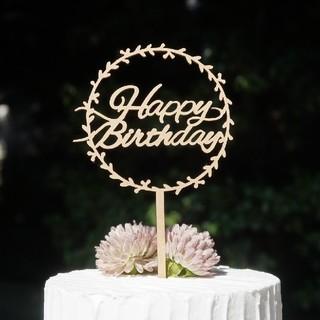 ファミリア(familiar)のケーキトッパー リーフ HAPPYBIRTHDAY 誕生日 飾り 木製(その他)