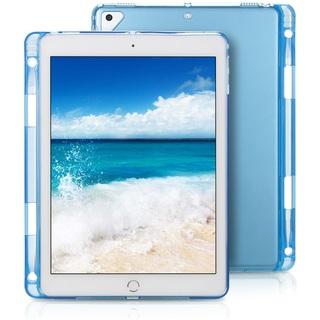 新調☆ブルー 半透明 iPadケース 保護フィルム&ペン付き(iPadケース)