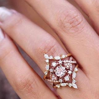 AAAランク ダイヤモンドcz ピンクゴールド リング 指輪 3本セット(リング(指輪))