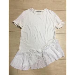 ザラ(ZARA)のZARA  コットン 白Tシャツ  (Tシャツ(半袖/袖なし))