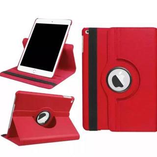 【レッド】 iPad5 iPad6 360度回転 iPad ケース カバー(iPadケース)