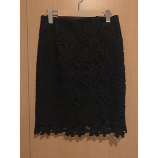 アストリアオディール(ASTORIA ODIER)の黒レーススカート(ひざ丈スカート)