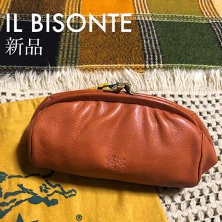 イルビゾンテ(IL BISONTE)のヤキヌメ♡価格2.3万♡イルビゾンテ♡がま口 レザー ポーチ♡キャメル ブラウン(ポーチ)