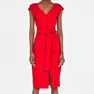 ザラ(ZARA)のZARA 赤 ドレス ワンピース(ミディアムドレス)