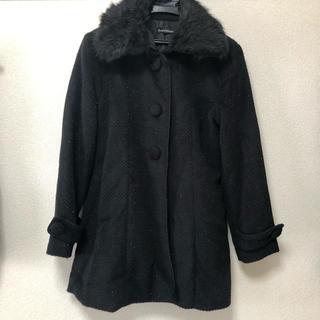 シマムラ(しまむら)のしまむら ロングコート Lサイズ 黒ラメ ブラック リボン フェイクファー(ロングコート)