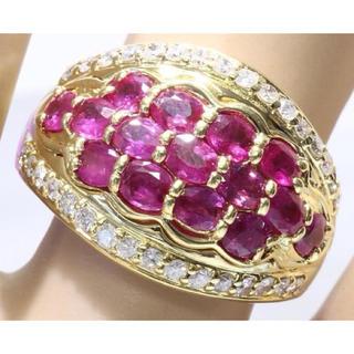 鑑定書付ルビー ダイヤモンド リング指輪K18イェーローゴールド(リング(指輪))