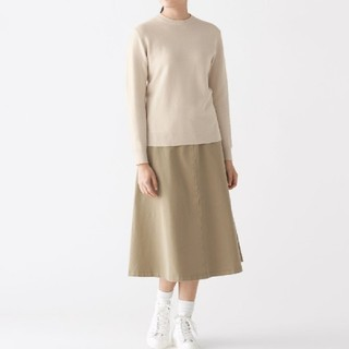 ◎新品◎無印良品首コットンシルククルーネックセーター/アイボリー/L