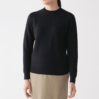 MUJI (無印良品) - ◆新品◆無印良品首コットンシルククルーネックセーター/黒/XL