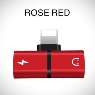 最安値★新品★iPhone 2in1 変換アダプタ ライトニング☆RED(赤色)(ストラップ/イヤホンジャック)
