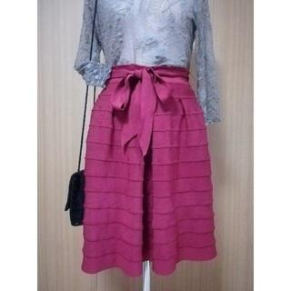 グリモワール(Grimoire)の【vintage】ビンテージ ヴィンテージ 古着 リボン 赤 スカート(ひざ丈スカート)