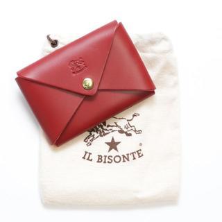 イルビゾンテ(IL BISONTE)の新品 イルビゾンテ カードケース オリガミ 名刺入れ コインケース レッド 本革(名刺入れ/定期入れ)