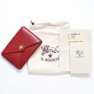 イルビゾンテ(IL BISONTE)の新品 正規品 イルビゾンテ カードケース オリガミ レッド 名刺入れ 小銭入れ(名刺入れ/定期入れ)