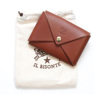 イルビゾンテ(IL BISONTE)の新品 イルビゾンテ カードケース オリガミ 名刺入れ コインケース あか茶 本革(名刺入れ/定期入れ)