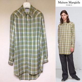 Maison Martin Margiela - 新品■マルジェラ 18ss■40■ロングチェックシャツ■黄色■4895