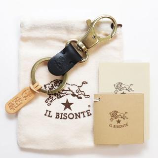 イルビゾンテ(IL BISONTE)の新品 正規品 イルビゾンテ キーホルダー キーリング アクセサリー ブラック(キーホルダー)