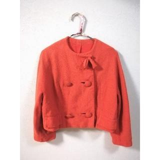 グリモワール(Grimoire)の【vintage】オレンジ ウール ジャケット リボン(ノーカラージャケット)
