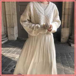 ★2点セット★ Vネック ツイスト セーター&ドレス セット(ロングドレス)