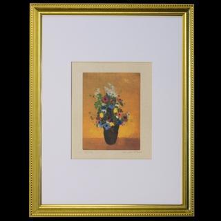 オディロン・ルドン、「アネモネのある大きな花瓶」リトグラフ刷り・複製画(版画)