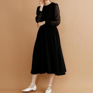メルロー(merlot)の新作✨ シースルー袖 Aライン ドレス ワンピース 上品 メルロープリュス(ロングドレス)
