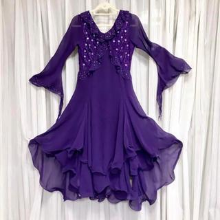 社交ダンス ドレス 衣装 9号 M  紫   ロングドレス  スタンダード(ロングドレス)