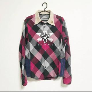 エム(M)のBURNOUT クロスドアロー チェックシャツ 赤 Mサイズ(シャツ)