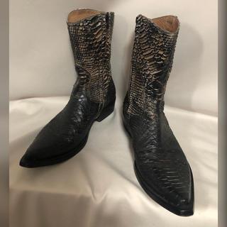 QUEEN CLASSICO コーティングパイソン 蛇革 レザーブーツ 41(ブーツ)