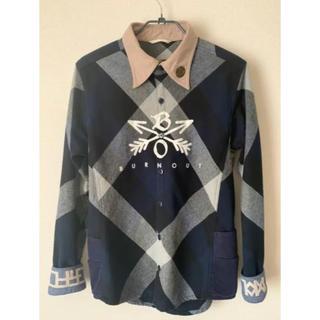 エム(M)の美品 Sサイズ BURNOUT クロスドアローチェックシャツ ネイビー 青(シャツ)
