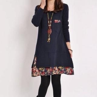 小花裾 重ね着風 チュニック ネイビー Aライン 長袖 ワンピース 体型カバー(チュニック)