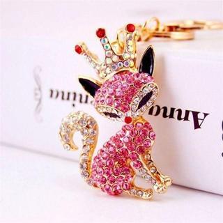 王冠を被った猫♪ キーホルダー 【新品・ピンク】(キーホルダー)