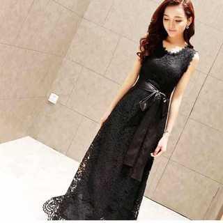 パーティー♡同窓会♡結婚式♡ レースロングドレス ブラック(ロングドレス)