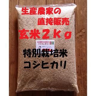 ★新米★[玄米]特別栽培米コシヒカリ2kg生産農家の直接販売