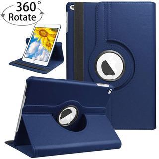 iPad 6世代/5世代 360度回転機能付 ネイビー レザーケース(iPadケース)