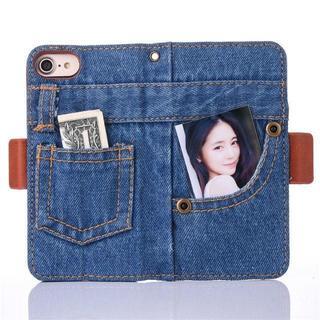 【デニム】iPhone8/7 用ケース カードポケット ストラップホール付(iPhoneケース)