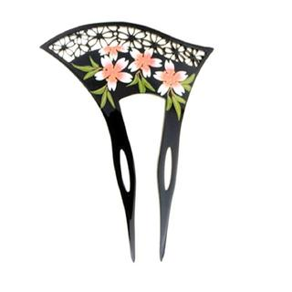 かんざし 髪飾り バチ型 アンティーク 桜 花 フラワー ブラック 黒 新春(その他)