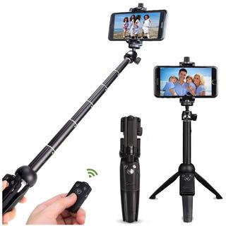 自撮り棒 Bluetoothリモコン 三脚一脚兼用 360度回転 6段調節(自撮り棒)