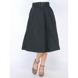 イーブス(YEVS)のYEVS イーブス 共ベルト付アシメタックスカート ネイビー(ひざ丈スカート)