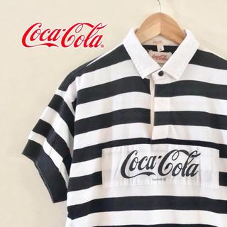 コカコーラ(コカ・コーラ)の【90s90年代】 ラガーシャツ〜コカコーラビッグロゴ〜ボーダー柄 サイズ3(ポロシャツ)