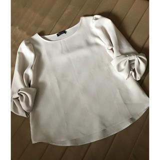 シマムラ(しまむら)のMIRACLE CLOSET🔸袖口リボン 七分袖 ブラウス M ピンクベージュ(シャツ/ブラウス(長袖/七分))