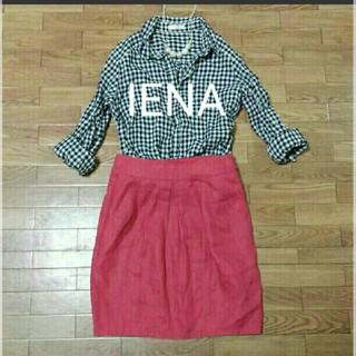 イエナ(IENA)のIENA*タックスカート*XS*麻(ひざ丈スカート)