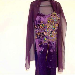 ストール&グローブ付き 艶サテン 美姿パープルロングドレス (ロングドレス)