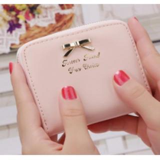 ☆キュート☆ リボン付き ミニ財布 コインケース ベビーピンク(コインケース)