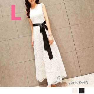 パーティー♡同窓会♡結婚式♡ レースロングドレス ホワイト(ロングドレス)