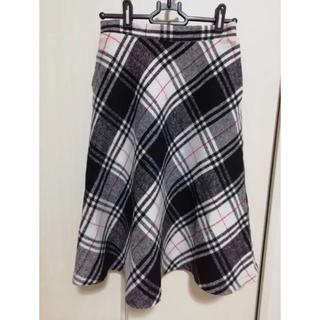 シマムラ(しまむら)のシャギーチェック フレアスカート(ひざ丈スカート)